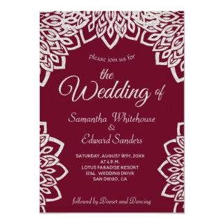 Silver Glitter Burgundy Elegant Wedding Invitation