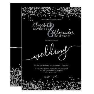 Silver glitter confetti black chic wedding invitation