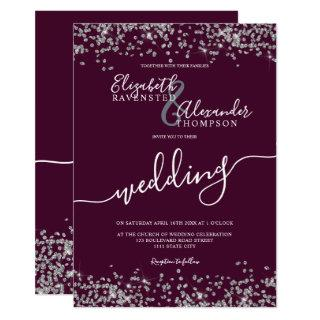 Silver glitter confetti plum purple chic wedding invitation
