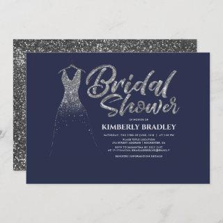 Silver Glitter Dress Navy Blue Bridal Shower Invitations