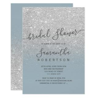 Silver glitter dusty blue script bridal shower Invitations