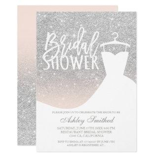 Silver glitter elegant blush dress Bridal shower Invitations