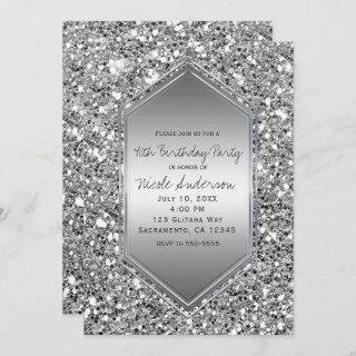 Silver Glitter Glam Chic Birthday Party Any Event