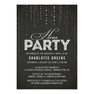 Silver Glitter Look Black Hens Party Invitations