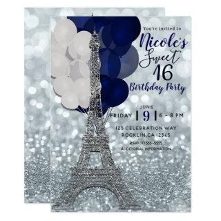Silver Glitter Navy Balloons Paris Eiffel Tower Invitation