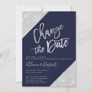 Silver glitter navy blue change the date postponed save the date