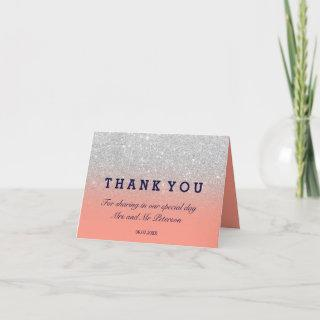 silver glitter navy coral ombre Thank you wedding Card