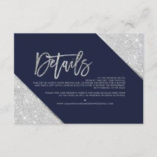 Silver glitter navy script wedding direction enclosure card