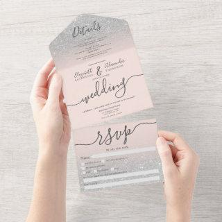 Silver glitter ombre blush pink script wedding all in one