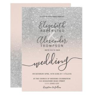 Silver glitter ombre blush pink script wedding invitation
