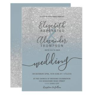 Silver glitter ombre dusty blue script wedding invitation