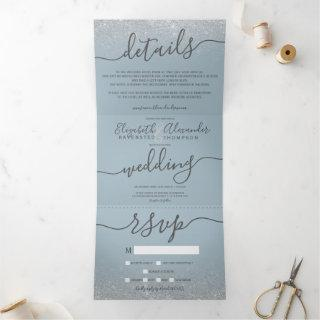 Silver glitter ombre dusty blue script wedding Tri-Fold invitation