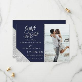 Silver glitter photo navy blue save the date