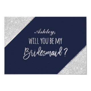 Silver glitter script navy be my bridesmaid invitation