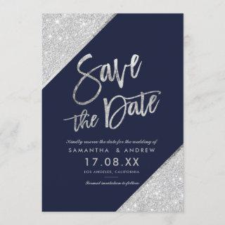 Silver glitter script navy blue save the date