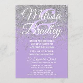 Silver Glitter Sparkles Dark Lavender Wedding Invitation