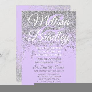 Silver Glitter Sparkles Lavender Purple Wedding Invitations