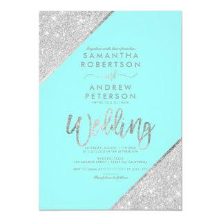 Silver glitter typography aqua blue wedding invitation