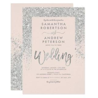 Silver glitter typography blush pink wedding Invitations