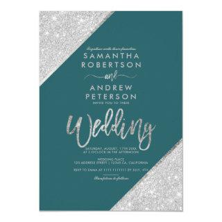 Silver glitter typography teal green wedding invitation