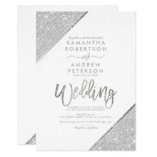 Silver glitter typography white wedding invitation