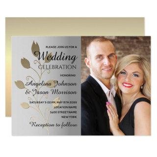 Silver & Gold Floral Wedding Invitation with Photo