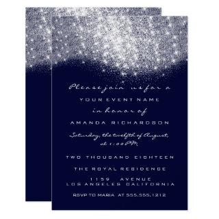 Silver Gray Glitter Blue Navy Formal Invitations