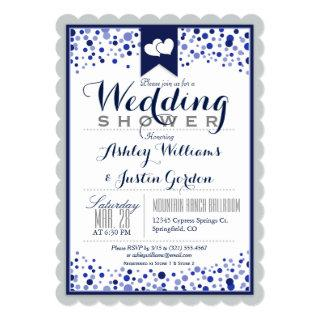 Silver Gray, White, & Navy Blue Wedding Shower Invitation