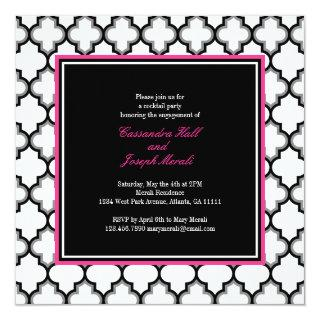 Silver Grey, Black & White Invitations, Hot Pink Invitations