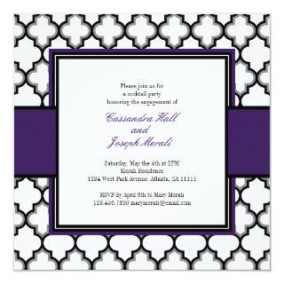 Silver Grey, Black & White Invitation, Purple Invitation