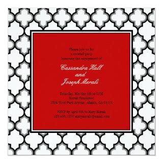 Silver Grey, Black & White Tuxedo Invitation, Red Invitation