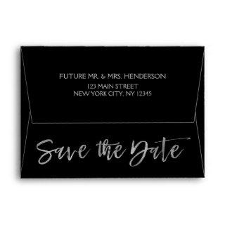 Silver Grey Foil and Black Save the Date Envelope