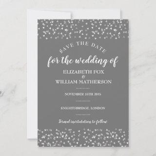 Silver Hearts Wedding Save the Date Card