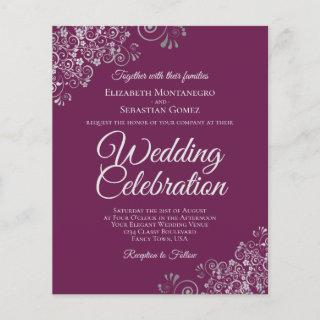 Silver Lace on Cassis Budget Wedding