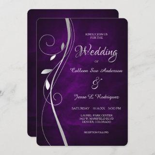 Silver Leaf Swirl Deep Purple Wedding Invitation