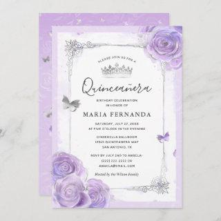 Silver Light Purple Roses Elegant Quinceanera Invitations