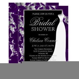 Silver Marble, Black and Purple Bridal Invitations
