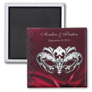 Silver Masquerade Red Save The Date Magnet