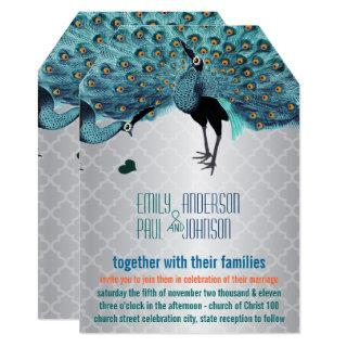 Silver Moroccan Tile Aqua & Coral Peacock Wedding Invitation