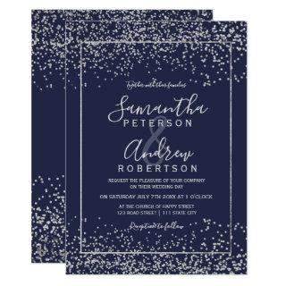 Silver navy blue confetti typography wedding invitation