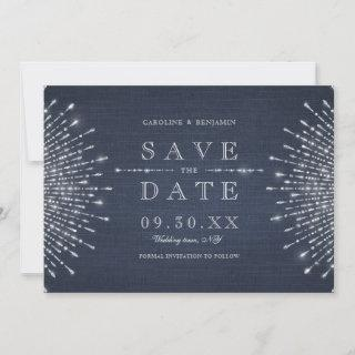 Silver navy deco vintage wedding save the date
