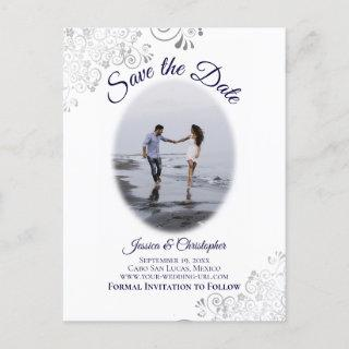 Silver & Navy on White Photo Wedding Save the Date Announcement Postcard