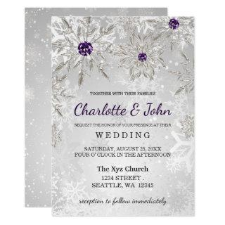 silver purple snowflakes winter wedding Invitations