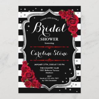 Silver Red Black White Stripes Bridal Shower Invitations