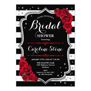 Silver Red Black White Stripes Bridal Shower Invitation