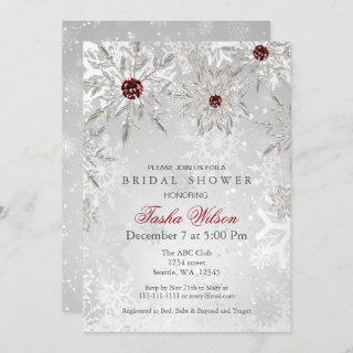 Silver Red Crystal Snowflakes Winter Bridal Shower