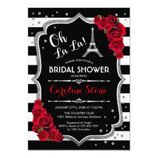 Silver Red Roses French Style Bridal Shower Invitations