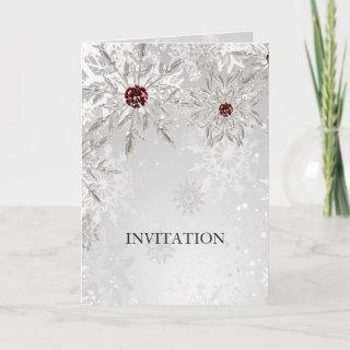 silver red snowflakes winter wedding Invitations