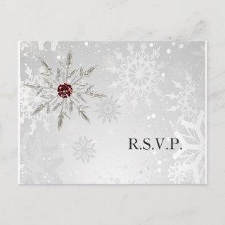 silver red snowflakes winter wedding rsvp invitation postcard