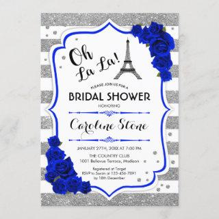 Silver Royal Blue Roses French Style Bridal Shower Invitation